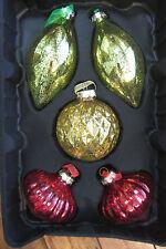 NIB HOME DECORATORS CHRISTMAS TREE ORNAMENTS GLASS X10 RED LIME GREEN GOLD