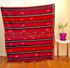 Colorful red wool embroidered Turkish kilim rug 5x5ft