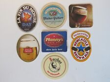 7 Beer European COASTERS ~ Stella Artois, Newcastle, Chimay, Unibroue (Canada) +