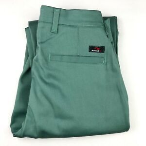 NEW BULWARK FR Flame Resistant Green ARC 11.2 Unhemmed Work Pants Size 28