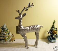 Reindeer Deer Silver Notching Metal Curly Antlers Christmas Decor Figurine Gift