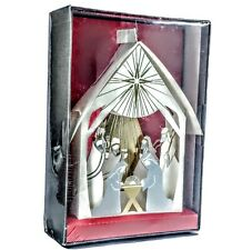Hallmark 3D Nativity Christmas Cards NIB Five Cards Gold/Silver Reflective Trim