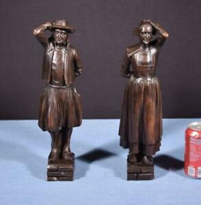 """*14"""" Pair of French Antique Hand Carved Breton Chestnut Wood Figures Salvage"""