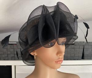 Isabella James Black Chiffon Lightweight Feather Headpiece Wedding Occassion