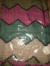 Chevron Zigzag Red Khaki Green Mix Scarf Hem & Edge
