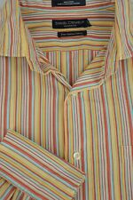 Daniel Cremieux Hombre amarillo Rojo & de Rayas Azules Algodón Camisa Informal L