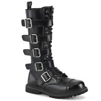 Demonia RIOT-18BK Men's Black Leather Steel Toe Combat Buckles Knee Boots Goth