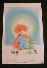 "CHRISTMAS Cute Girl Waving in Blue Jumper & Bird 5.5x8"" Greeting Card Art #10905"
