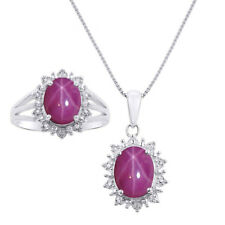 Princess Diana Inspired Halo Diamond & Star Ruby Matching Pendant Necklace and