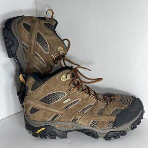 Merrell Moab Mid Hiking Boots Men's Size 10 Brown Waterproof Vibram J06051 New!