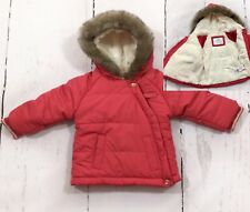 M&S baby girl Padded quilted coat 3-6 Months Fur Hood Lining Pink red Worn Once