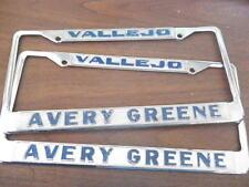 Vallejo CA Plate Frames Pair Set Metal Embossed Set Pair Tags Avery Greene