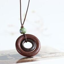 Long Brown Cord Tie Up Bohemian Boho Dual Round Wooden Pendant  Charm Necklace