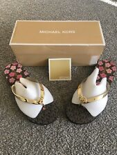 1effe219a3f0a BNWT Genuine Michael Kors Metallic Floral Flip Flop in Gold