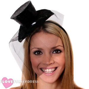 BLACK MINI GLITTER TOP HAT HEADBAND VEIL LADIES BURLESQUE PARTY FANCY DRESS