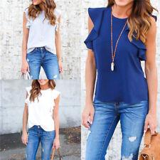 Women Sexy Ladies Summer Chiffon Short Sleeve Casual Shirt Tops Blouse T-Shirt^^