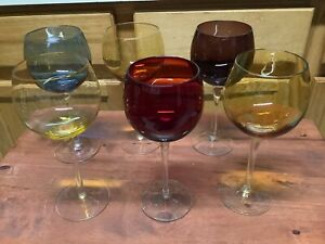 6 Colored Crystal Wine Glasses