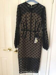 Bronx And Banco Isabella Midi Dress Black Size 8