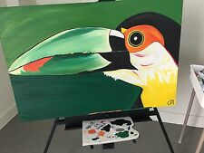 Oil Toucan Painting on Canvas 24x36 Unframed Green Reproduction Signed Modern