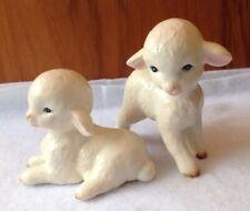 Pair of Lefton Ceramic Lamb Figurines Japan H4546 Spring Easter