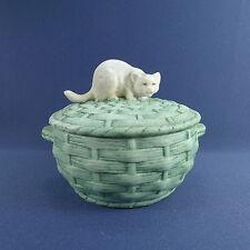 Antique 1900 Cat on a Basket Biscuit Porcelain Box