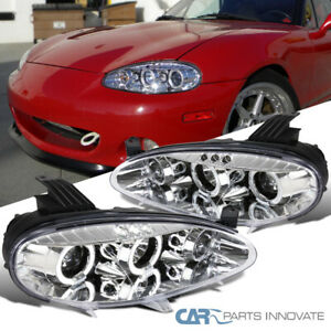 For 01-05 Mazda Miata MX5 Replacement Clear LED Halo Projector Headlights Pair
