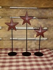 "Set of 3 Small Burgundy Star Pedestals  5"" 6"" 7"", Primitive Country Farmhouse"