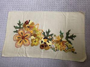 "Large Floral Finished Crewel 33"" X 19"" Floral Flowers Orange Yellow Vintage"