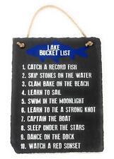 "Slate Top 10 Lake Bucket List Hanging 8""x10"" Home Decor Sign Plaque for Lake"