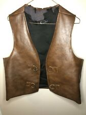 Men's 60's-70s Vintage Brown Faux Leather Vest Brass Hippie Pirate Clothes