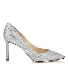 """JIMMY CHOO """"Romy"""" paillettes Argent Court Talons Aiguilles Chaussures EU 35.5 UK 2.5 NEUF"""