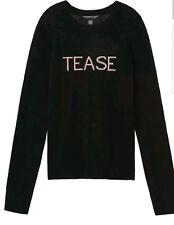 "VICTORIA'S SECRET Angel Cashmere ""Tease"" Crew Neck Sweater Black Size: M NWT"