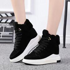 Women Platform Hidden Wedge Heel High Top Shoes Sneaker Suede Lace up Ankle Boot