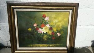 Large Antique Oil Painting , Still Life , Flowers