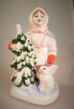 Russische Porzellanfigur Mädchen und Tannenbaum Porzellan