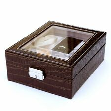 4 Slot Leather Watch Box Display Ring Organizer Jewelry Storage Coffee Brown