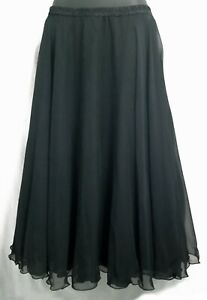 Casadei Black Chiffon Elastic Waist Flared Skirt Size 12