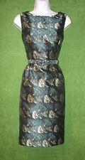 Anne Klein Green Black Satin Jacquard Belted Cocktail Social Dress 2 $139