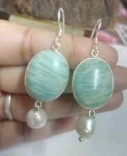 FineQuality 925 Silver Dangle Natural Amazonite Gemstone Earring Christmas Gift