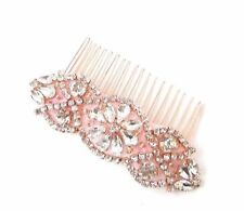Rose Gold Silver Diamante Hair Comb Bridal Rhinestone Vintage Wedding Bead 2716