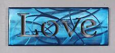 "Metal Wall Art Canvas Love --Metallic Blue Measures approx 16"" x 6"""