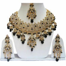 Gold Plated Jodha's Kundan Zerconic Bollywood Necklace Set Earrings Tikka ES8
