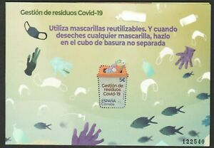 SPAIN 2021 ,  MANAGEMENT OF VIRUS COVI  19 ,  SOUVENIR SHEET   ,unusual