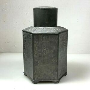 ANTIQUE ENGRAVED PEWTER TEA CADDY TEACADDY CHINESE QING LIDDED 19th C BIG