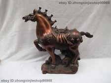 Chinese Royal Red Copper Bronze Feng Shui Lucky War Tang Horse Art Statue