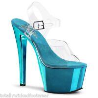 "Pleaser 633 Gray Suede Dual Platform 6/"" Pewter Rhinestone Heel Shoe Size 11 NIB"