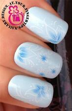 NAIL ART WRAP WATER TRANSFERS STICKERS DECALS DECORATION BLUE WHITE FLOWERS #271
