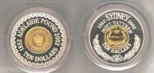 2 AUSTRALIAN  SILVER COINS - 150th ANNIV. ADELAIDE POUND & SYDNEY PATTERN