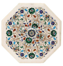 """15"""" White Marble Coffee Table Top Pietradure Floral Pauashell Stone Inlay Decor"""