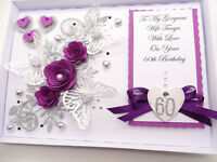 Handmade Personalised Luxury Mothers Day Birthday Card,Wife  Any Age Box
